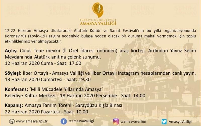 12-22 Haziran Amasya Uluslararası Atatürk Kültür ve Sanat Festivali Kutlama Programı