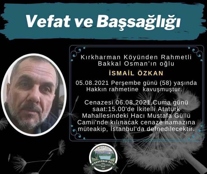 Naci Özkan'ın ağabeyi İsmail Özkan(58) Vefat etti