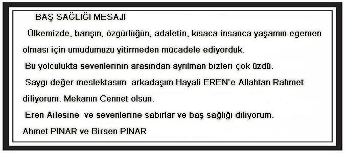 Ahmet PINAR ve Birsen PINAR Baş Sağlığı Mesajı