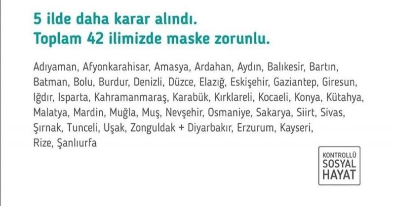 Amasya'nın da İçinde Bulunduğundu 42 İlde Maske Takmak Zorunlu Oldu