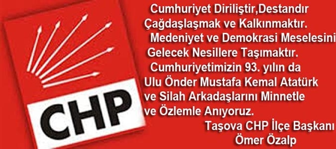 CHP Taşova İlçe Başkanlığı 29 Ekim Mesajı
