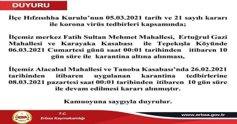 Erbaa'da 2 Mahalle, 1 Köy ve 1 Beldeye Karantinaya Alındı
