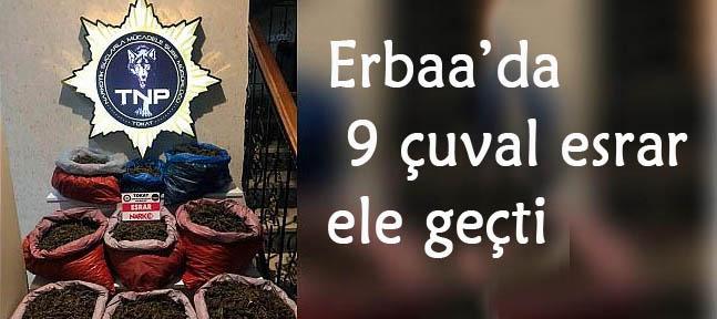 Erbaa'da 9 çuval esrar ele geçti