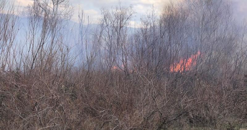 Irmak Kenarındaki Çalılık Alanda Yangın