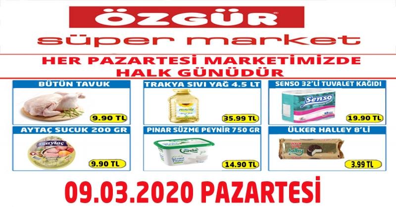 Özgür Süper Market 09.03.2020 Halk Günü İndirimleri