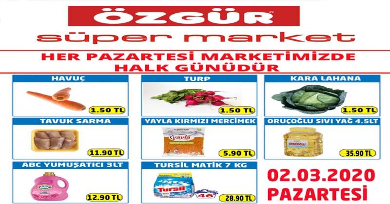 Özgür Süper Market 02.03.2020 Halk Günü İndirimleri