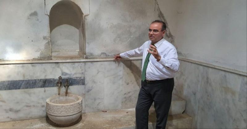 Tarihi Sinanpaşa Hamamı'nda İncelemelerde Bulundular