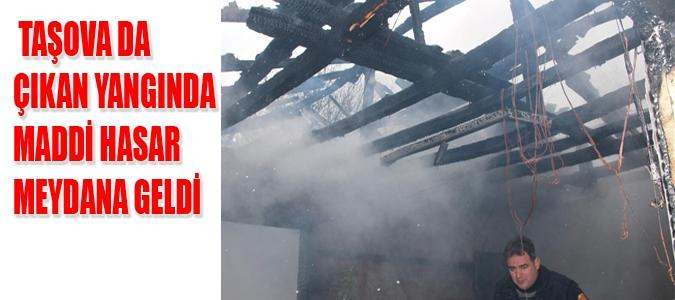 Taşova'da Çıkan Yangında Maddi Hasar.
