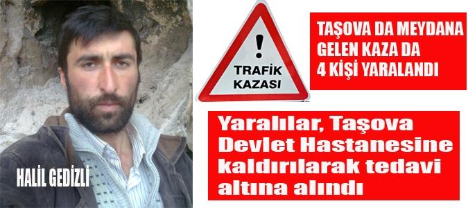 Taşova'da Trafik Kazası, 4 Kişi Yaralandı