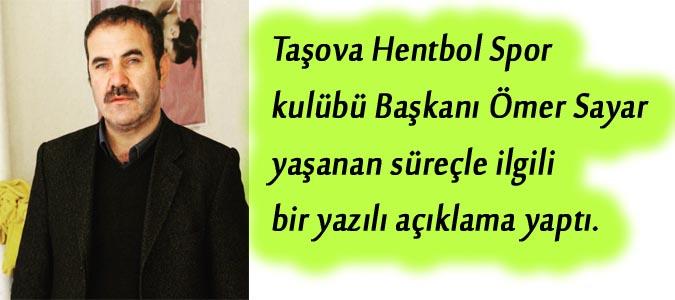 Taşova Hentbol Başkanı Sayar'dan Açıklama..!