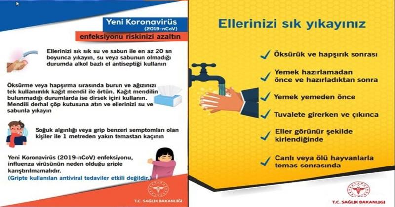Taşova İlçe Sağlık Müdürülüğü'nden Koronavirüsten Korunmanın Yolu Açıklaması