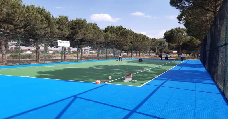 Taşova Tenis Kortu İnşaatında Son Aşamaya Gelindi