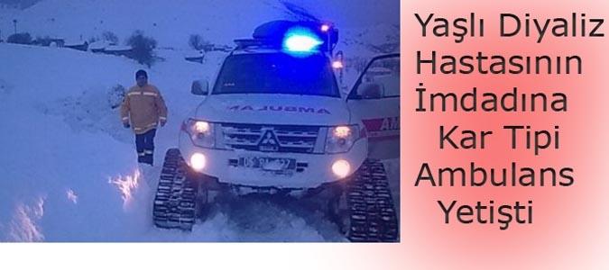 Yaşlı Diyaliz Hastasının İmdadına Kar Tipi Ambulans Yetişti