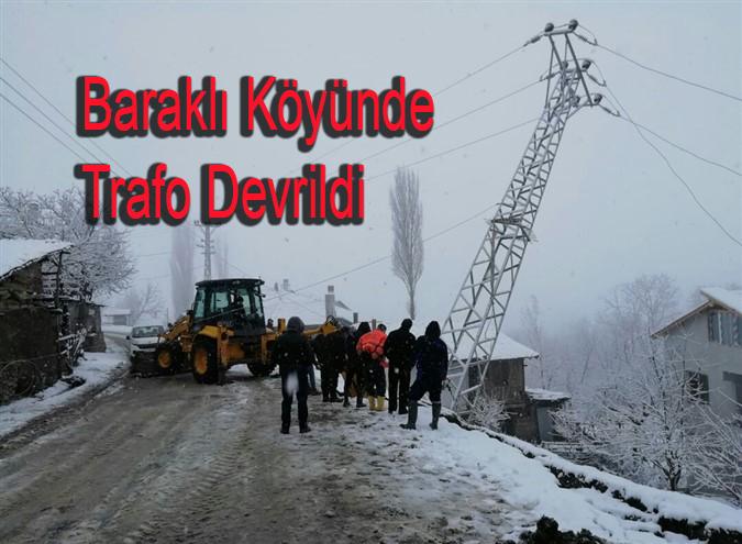 Baraklı Köyünde Trafo Devrildi