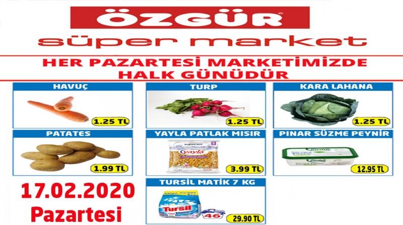 Özgür Süper Market 17.02.2020 Halk Günü İndirimleri