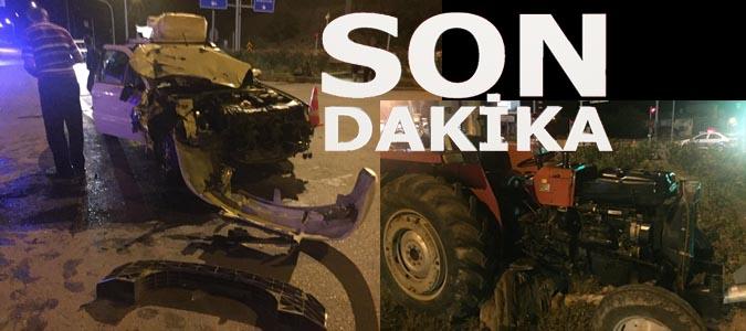 Taşova girişinde İran plakalı araç , Traktörle çarpıştı